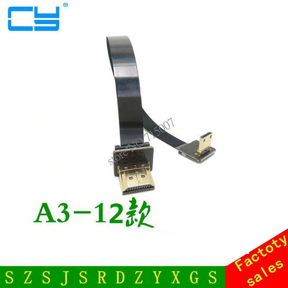 0.05M-1M FPV vers le bas incliné à 90 degrés HDMI type A mâle à micro HDMI mâle HDTV FPC câble plat pour la photographie aérienne multicopter