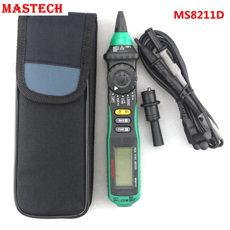 MASTECH MS8211D Pen Type Digital Multimeter AC DC 600V Voltmeter  Ammeter Tester Auto Range Test Lead Automotive Non-contact mastech ms8211d pen type digital multimeter manual auto range