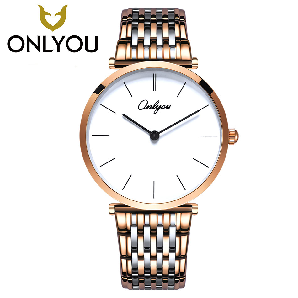 ONLYOU New Brand Simple Fashion Casual Stainless Steel Men Watch Women Dress Wristwatch Lovers Quartz Travel Watch Wholesale onlyou luxury brand fashion watch women men business quartz watch stainless steel lovers wristwatches ladies dress watch 6903