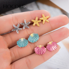 HOCOLE 4 Pairs/Set Starfish Shell Mixed Stud Earrings for Women Bohemian Summer Beach Holiday Boucle Doreille Jewelry Brincos