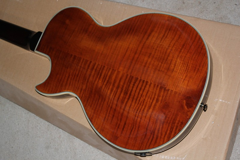 Factory Custom Shop LP Supreme Tiger Stripe Flame brown Electric Guitar Free Shipping 14-11-10