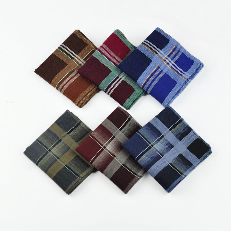 24pcs/lot New Cotton Wedding Handkerchief Men Festival Party Handkerchiefs 38*38cm Striped Plaid Hanky Male Pocket Square