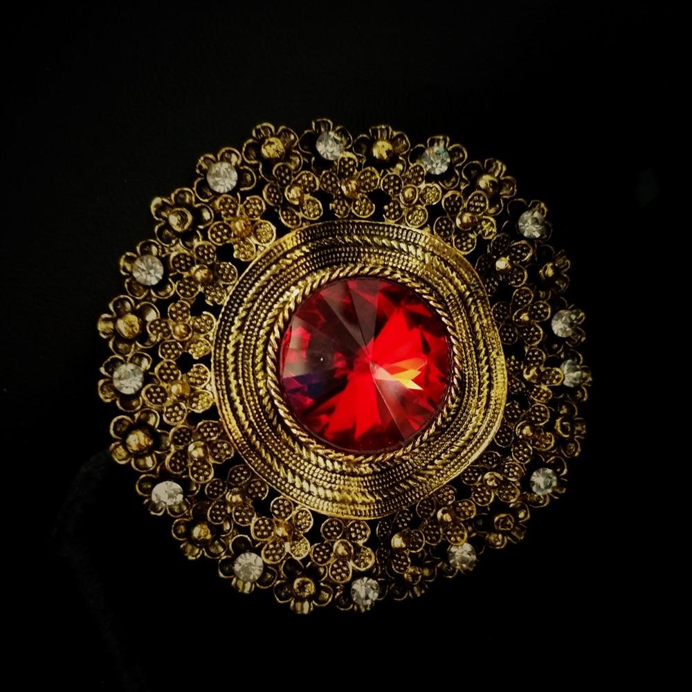 Edwardian Schmuck gewölbten roten Kristall Stein Runde Broschen - Modeschmuck - Foto 3