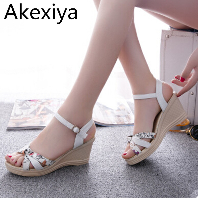 Akexiya 2017 Women Fashion Summer Platform Wedges High Heels Sandals Female 2017 Color Block Gladiator Preppy Style Buckle Shoes 2017 suede gladiator sandals platform wedges summer creepers casual buckle shoes woman sexy fashion beige high heels k13w
