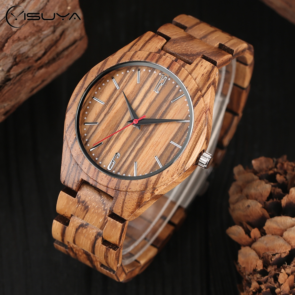 Zebra Pattern Bamboo Wooden Wrist Watch Mens Handmade Natural Wood Quartz Watches Causal Sport Fold Clasp Bangle Watch bamboo wooden wrist watch mens nature brown wood quartz creative watches novel sport analog fold clasp bangle clock gift