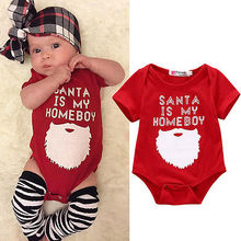 2016 New Funny Xmas Santa Baby Girls Boy Cotton Romper Jumpsuit Christmas Clothes 0-18M