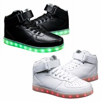 Colorful Led Light Shoes USB Rechargeable Girl S Boys Sneakers Cool Luminous Lace Up Men S