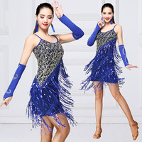 2019 New Hot Ladies Latin Dance Costumes Strap Dress Adult Female Latin Skirt Spring New Sequins Latin Practice Clothes