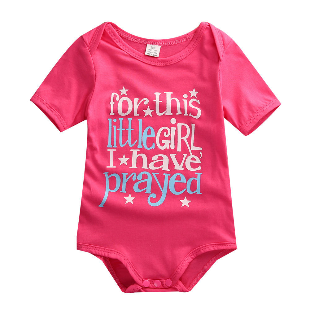 1 Pcs Cute Newborn Baby Girls Cotton Red Quote Cotton Bodysuit