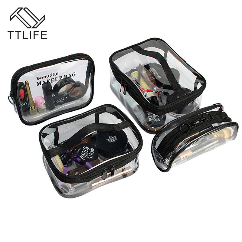 Ttlife Transparent Cosmetic Storage Bag Waterproof Pvc Toiletry Organizer Dual Zipper Makeup Pouch Travel Lipstick Square Bag