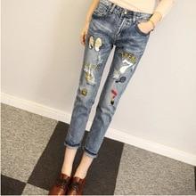 Производители, продающие 2016 Корейских вентилятор отверстие джинсы ткани носили 9 письма женские брюки мешковатые синие ноги