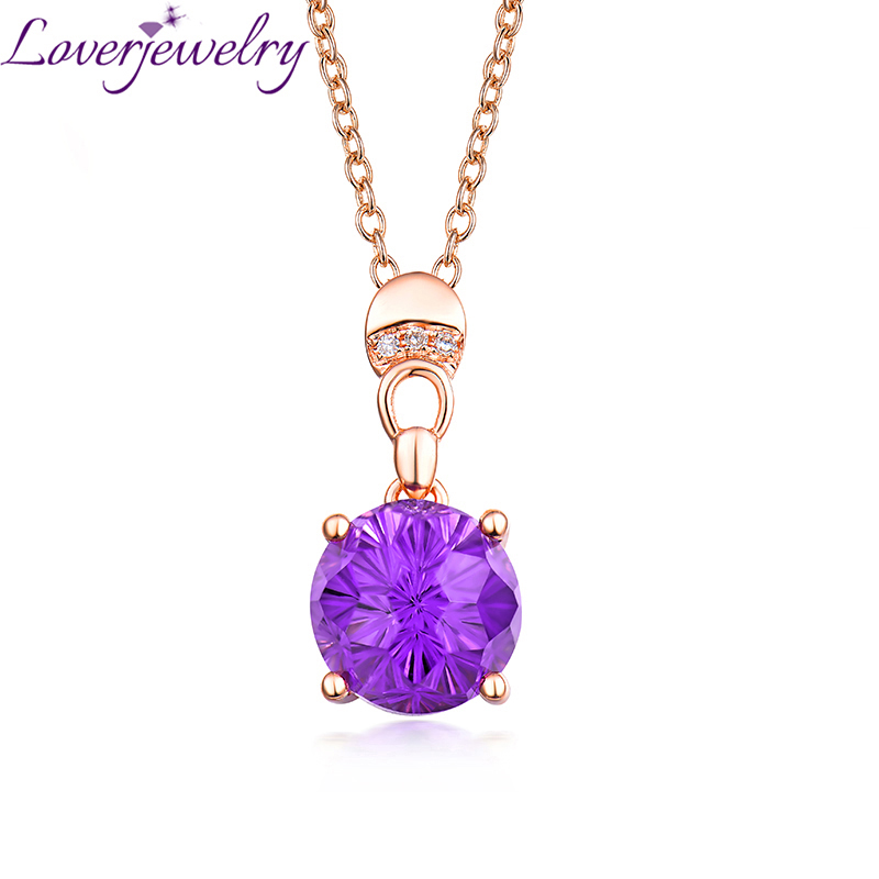 Loverjewelry Ladies Purple Amethyst Pendant Necklace For Women 14K Rose Gold Natural Diamond Fine Jewelry for