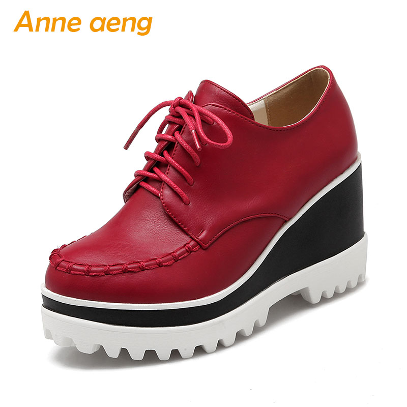 Spring/Autumn Women Pumps High Wedge Heels Shoes Platform Round Toe Lace Up Fashion Ladies Women Shoes Red Pumps Big Size 34 43