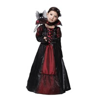 Vampire Princess Children Halloween Costume Black Lace Dress Necklace Set Kid Party Dress Performance Costumes M