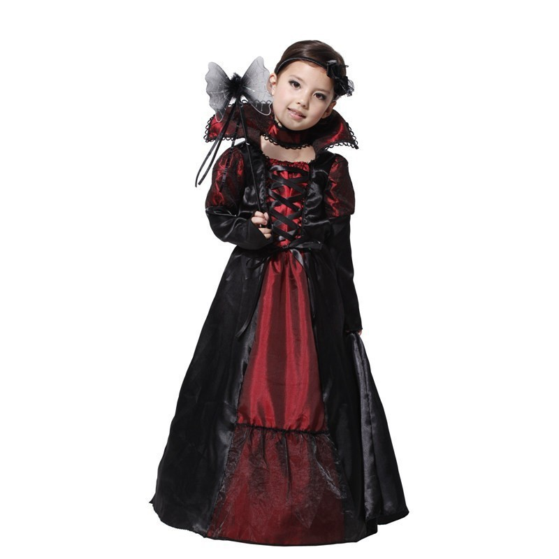 24Hours Ship Children Girls Gothic Vampire Cosplay Festival Costume For Kids Christmas New Year Purim Carnival Party Dress