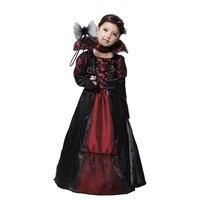 Vampire Princess Children Halloween Costume Black Lace Dress Necklace Set Kid Party Dress Performance Costumes M