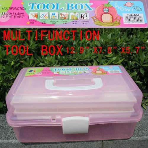 Retail Big Size High Quality Multifunction Tool Box 3 Layers ABS Nail Art Tool Case Storage Box Organizer High Quality