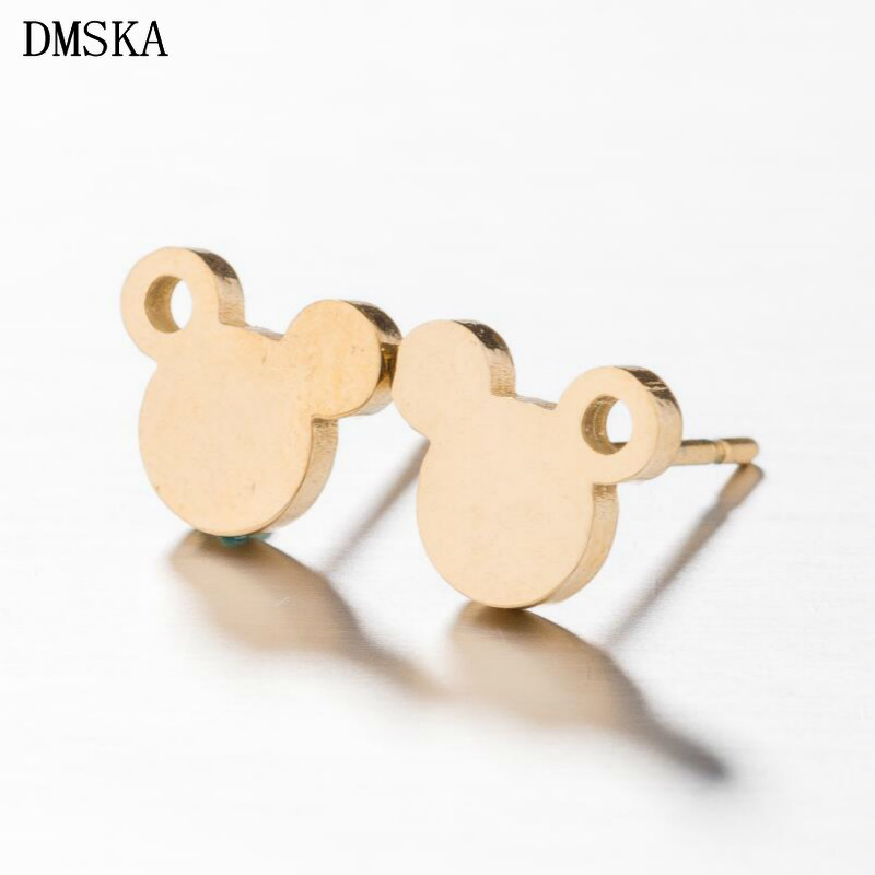 DMSKA Mickey Jewelry Stainless Steel Stud Earrings for Women Cute Earing Cartoon Mouse Aretes De Mujer Modernos 2018 New Earring earrings
