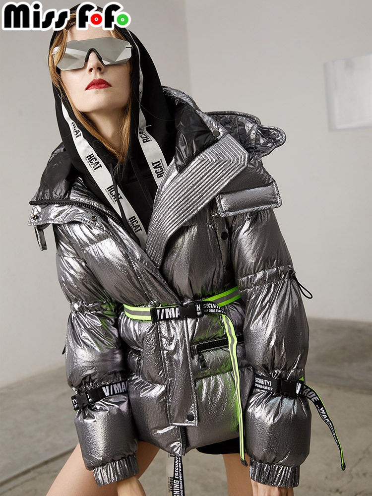 MissFoFo 2018 New Fashion Women s Duck Down Jacket Slim Glossy Very Cool Waist Silver Black