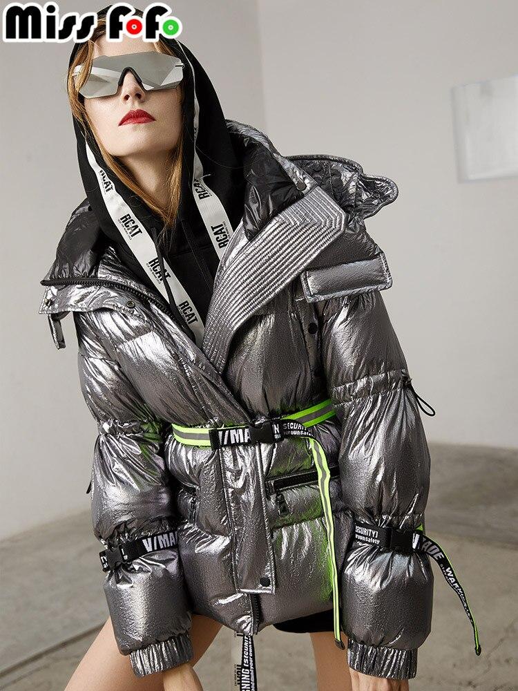 Missfofo 2018 새로운 패션 여성의 오리 자 켓 슬림 광택 매우 멋진 허리 실버 블랙 크기 S XL 고품질-에서다운 코트부터 여성 의류 의  그룹 1