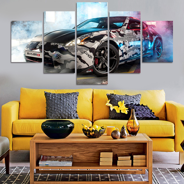 2016 New 5 Piece Picture Hot Sell Abstract Cool Car Modern Home Wall Decor Painting Canvas
