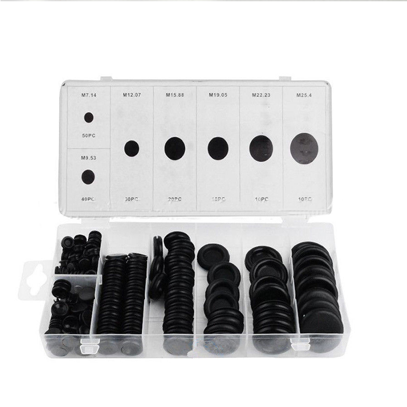 Black Rubber Grommet Firewall Hole Plug Retaining Ring Set Car Electrical Wire Gasket Kit For Cylinder Valve Water Pipe 220pcs 6mm inner diameter black white dual side open hole plug cable wiring rubber protector ring seal grommet gasket