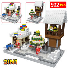 Creator Winter LegoINGlys Christmas Paradise Gift Shop Snow Bell Wood House Model Plastic Building Blocks Toys for Children(China)
