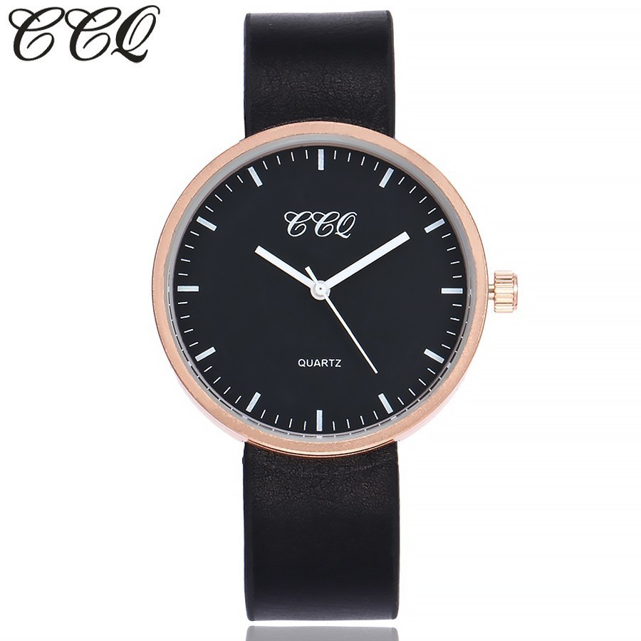 CCQ Brand New Fashion Women Black Simple Dress Quartz Watches Casual Luxury Leather Female Clock Wrist Watch Gift 2017 New
