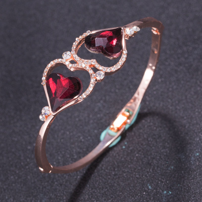 Christmas present, Heart shape Crystal Fashion Bracelet bangle rose Fashion W222