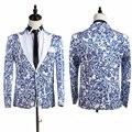 Navio livre azul flor porcelana mens smoking jacket / palco, Só jaqueta