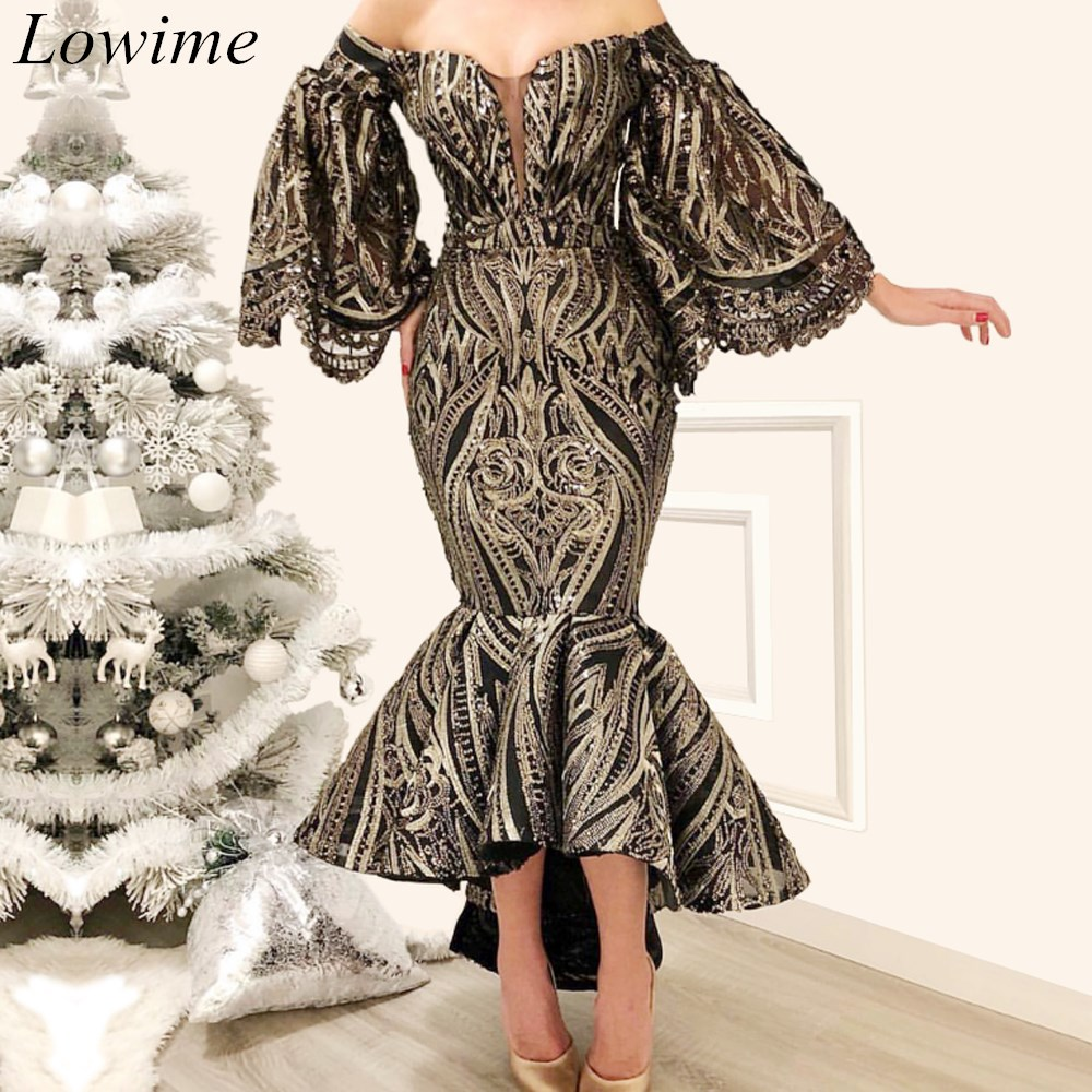 Fashion Plus Size Arabic Cocktail Dresses Mermaid Off-Shoulder Tea-Length Evening Cocktail  Prom Party Gowns Free Shipping
