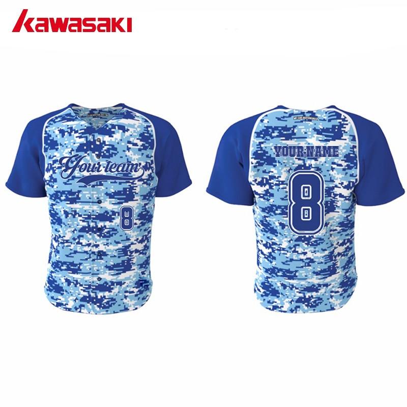 5pcs lot Kawasaki Brand Custom Camouflage Fans Baseball jerseys Top  Practice Mens   Women Plus Size XS-4XL Softball Shirt 07b947c92
