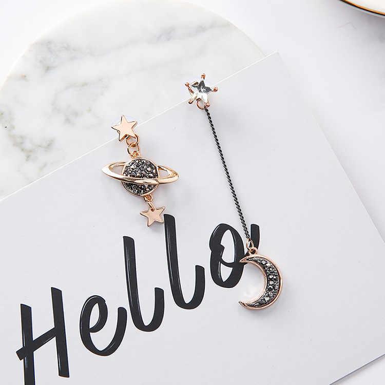2017 Новый дизайн асимметричные серьги для женщин Модная бижутерия горный хрусталь Луна звезды Планеты Pendientes горячие рождественские подарки