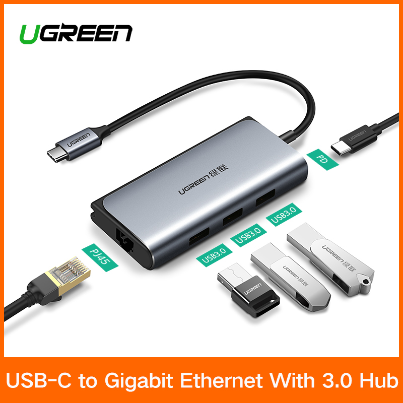 Ugreen USB C HUB RJ45 Adapter USB-C to 3.0 HUB RJ45 PD Dock for MacBook Pro Samsung Galaxy S9/S8/Note 9 Huawei P20 Type C HUB usb type c pd wall charger fast charging power adapter for new macbook pro dell 9350 acer r13 samsung asus hp