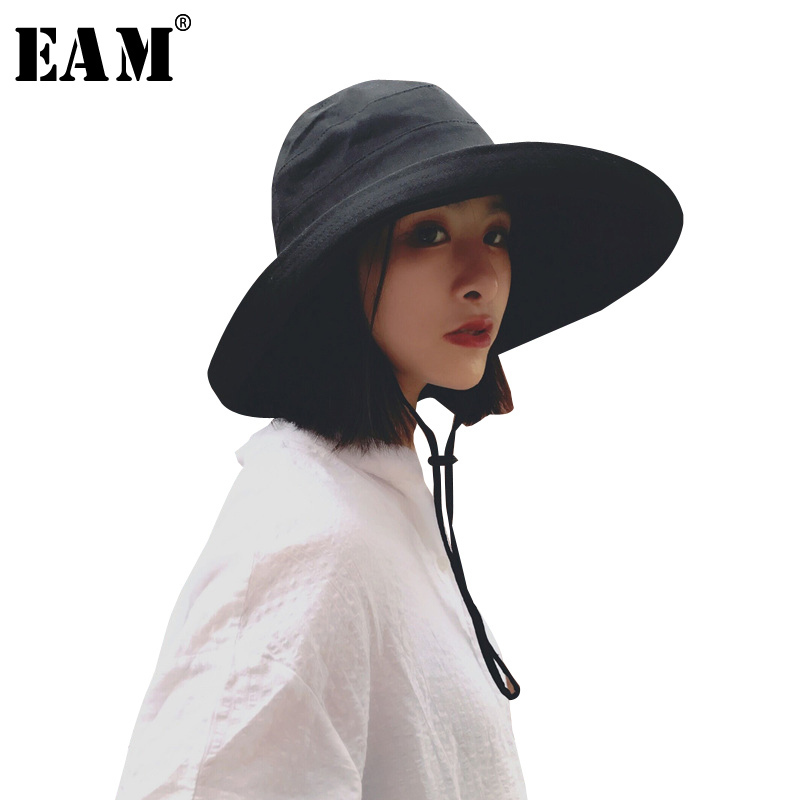 [EAM] 2018 New Summer Fashion Tide Foldable Cap Sun Hat Woman Fisherman Hat Aimple All-match Woman Dome Hat S963