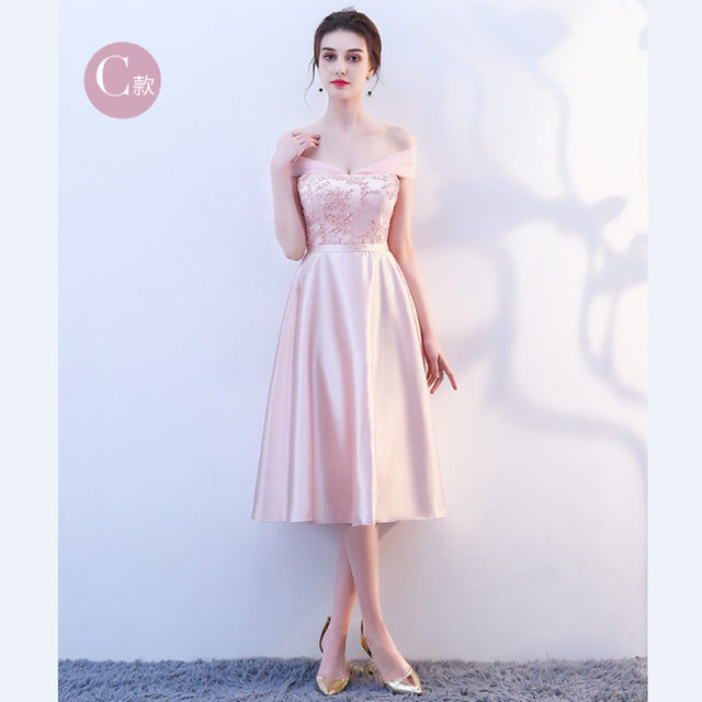 0a3d3487c0c23 KBS025F#Stand collar Short Medium Long pink lace up Bridesmaid Dresses  wedding party prom dress 2018 new wholesale clothing-in Bridesmaid Dresses  from ...