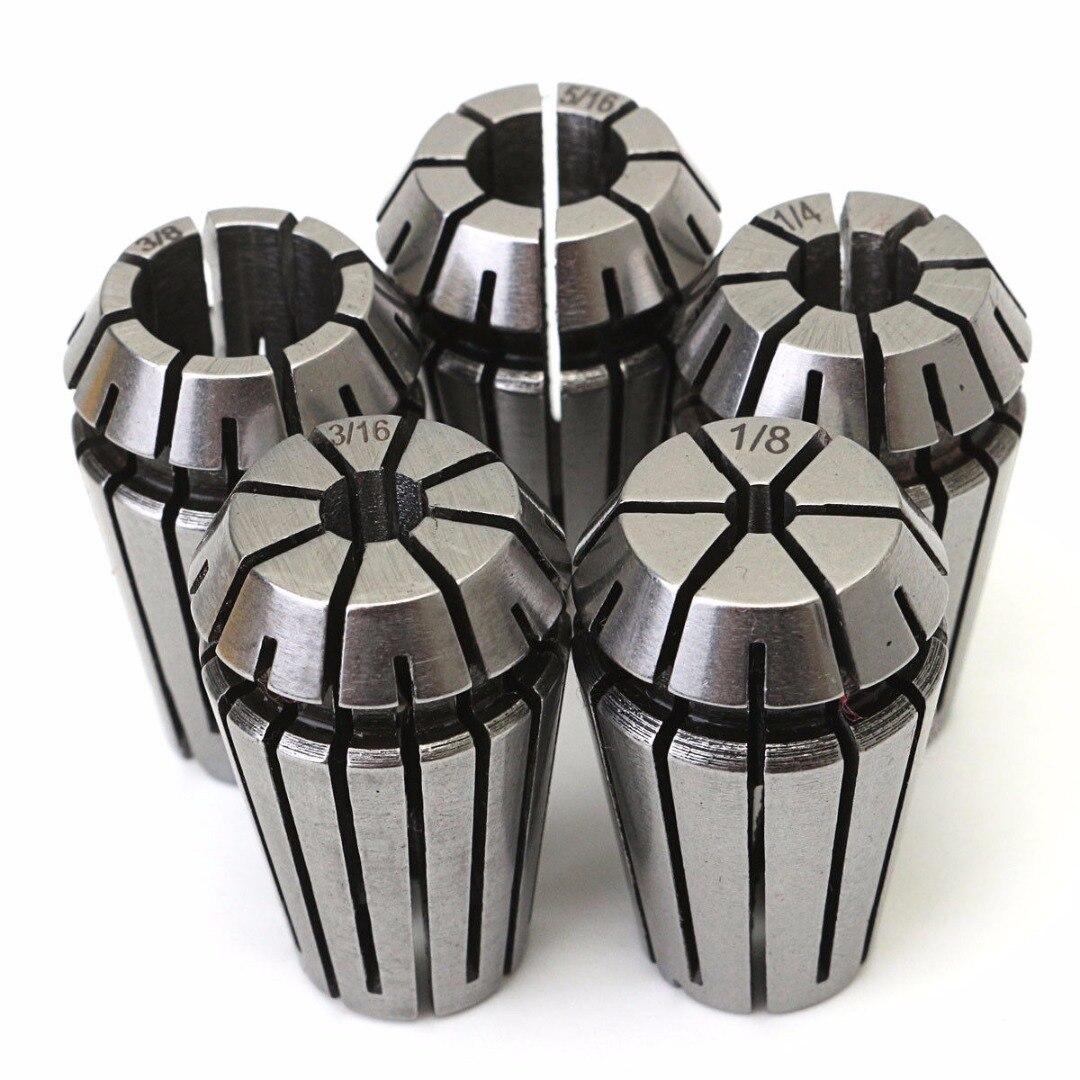 """5pcs High Grade 1065 Carbon Steel ER16 Spring Collet Set 1/8""""-3/8"""" For CNC Lathe Milling Engraving Machine"""