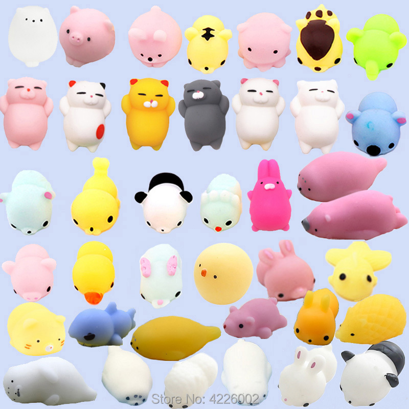 30pcs Squishy Squeeze Mochi Cat Squichy Antistress Squishes Fun Squishies Kawaii Animals Set Anti Stress Funny Toys For Children