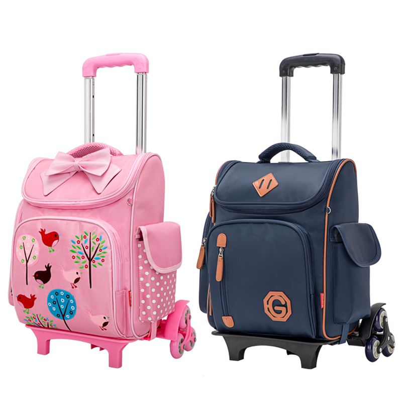 цена на Climb the stairs luggage child cartoon school bag students rolling suitcase Children travel backpack waterproof Stationery bag