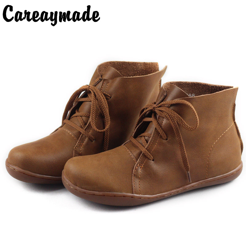 Careaymade Genuine leather women shoes Pure handmade ankle boot The retro art mori girl shoes Fashion