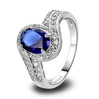 New Fashion Rings Jewelry Blue Sapphire Quartz 925 Silver Ring Size 9 Junoesque Oval Cut Jewelry Free Shipping Wholesale