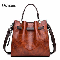 Osmond Women Handbags 2019 Fashion Luxury Female Shoulder Bags Oil Wax Leather Large Capacity Tote Bag PU Leather Messenger Bag