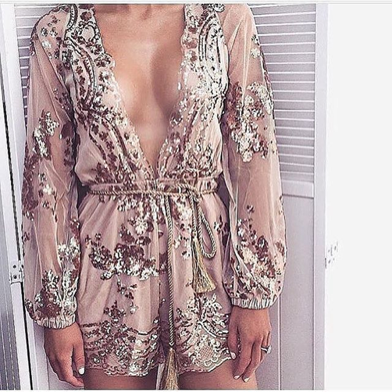 Macacao Feminino Shorts Female Rompers Womens Jumpsuit Sexy V Neck Long Sleeve Mesh Sequin Jumpsuits Playsuit Overalls Women