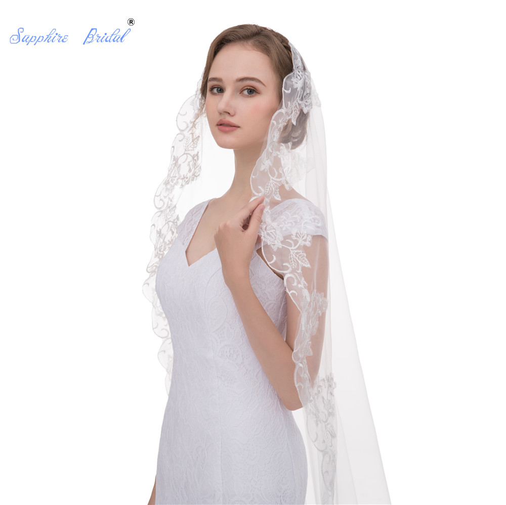 Sapphire Bridal Hot Sale Glamorous Long Cathedral Wedding Veil Single Layer Long Wedding Accessories Lace Edge Ivory In Stock