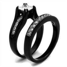 Size 4 5 6 7 8 9 10 11 12 Black Princess Cut AAA Grade CZ Wedding Engagement Bridal Halo Ring Band Set Propose Promise Valentine