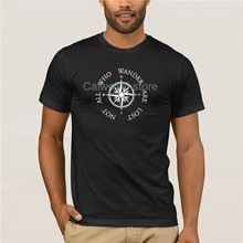 Fashion T Shirt 100% Cotton Not All Who Wander Are Lost Quote with Compass large Men's 2019 Fashion Style T Shirt(China)