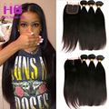 Remy Straight Brazilian Virgin Hair With Lace Closure 3 Bundles 8A Unprocessed Brazilian Straight Human Hair Weave With Closure