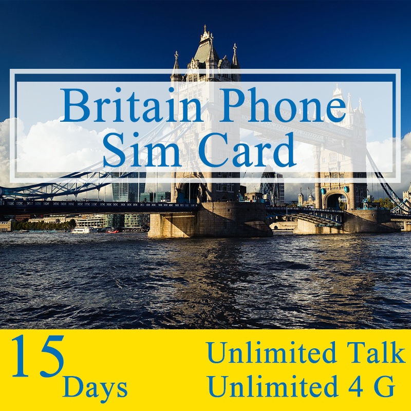 UK 15 Days Plan Sim Card With Unlimited Talk Text and Unlimited 4G Data Travel Mobile <font><b>Phone</b></font> Card Only for UK England