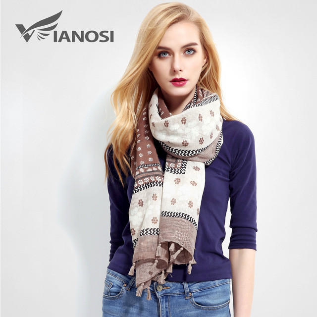 [VIANOSI] Cotton Scarf Women Bandana Fashion Tassel Scarf Luxury Brand Shawl hijab Women Scarves Cachecol VR010
