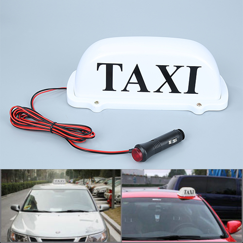 DC 12V Cab Sign Topper Roof Car White Taxi  Top   Lamp Light with Magnetic Base New Durable 45smd led white blue green red yellow car auto cab sign top light vehicles windscreen white led lamp dc 12v taxi light